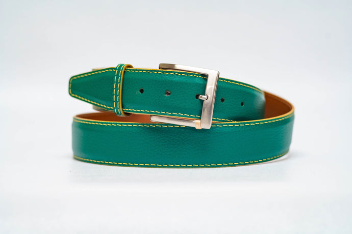Green Pebble Grain 40MM Belt - Gold Stitch & Gold Edge