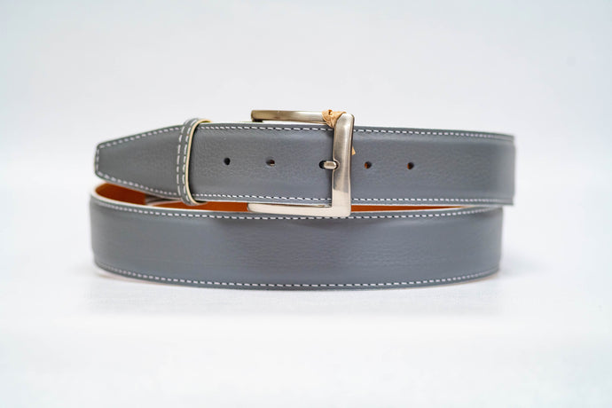 Grey Pebble Grain 40MM Belt - White Stitch & White Edge