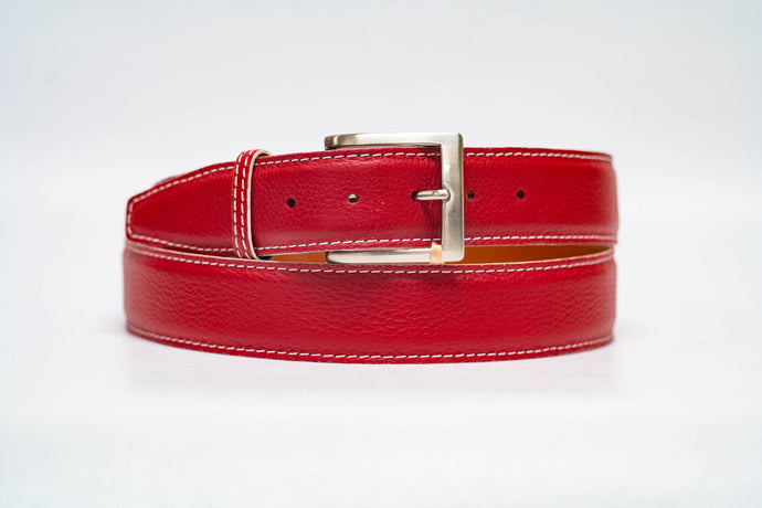 Red Pebble Grain 40MM Belt - White Stitch & White Edge
