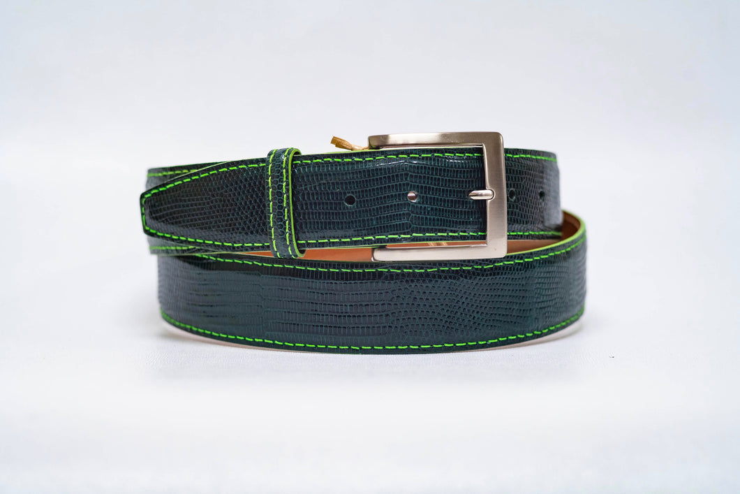 Overstock Sale - Hunter Lizard 40MM Belt - Lime Machine Stitch & Lime Edge