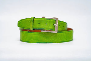 Overstock Sale - Lime Lizard 40MM Belt - Lime Machine Stitch & Green Edge