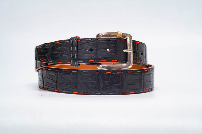 Midnight Caiman Crocodile 40MM Belt - Orange Pick Stitch & Orange Edge