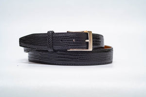 Onyx Lizard 35MM Belt - Black Machine Stitch & Black Edge