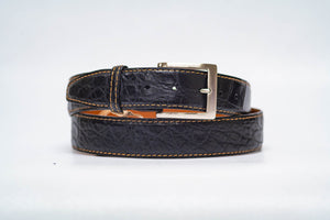 Onyx Matte Alligator 40MM Belt - Tan Machine Stitch & Onyx Edge