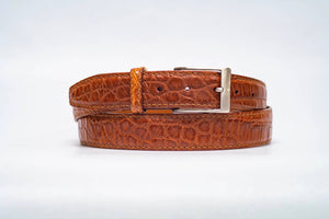 Cognac Matte Alligator 35MM Belt - Cognac Machine Stitch & Cognac Edge
