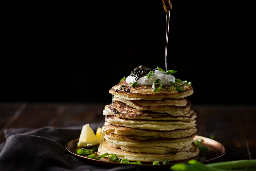 Lemon Ricotta pancakes with caviar and creme fraiche