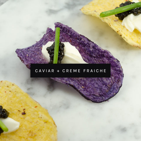 Caviar Appetizer Creme Fraiche Potato Chips by ROE Caviar