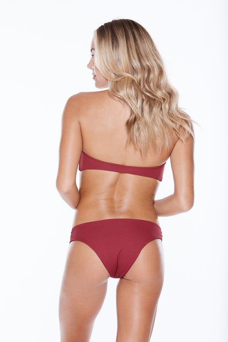 Bridget Bottom - Burgundy Rib