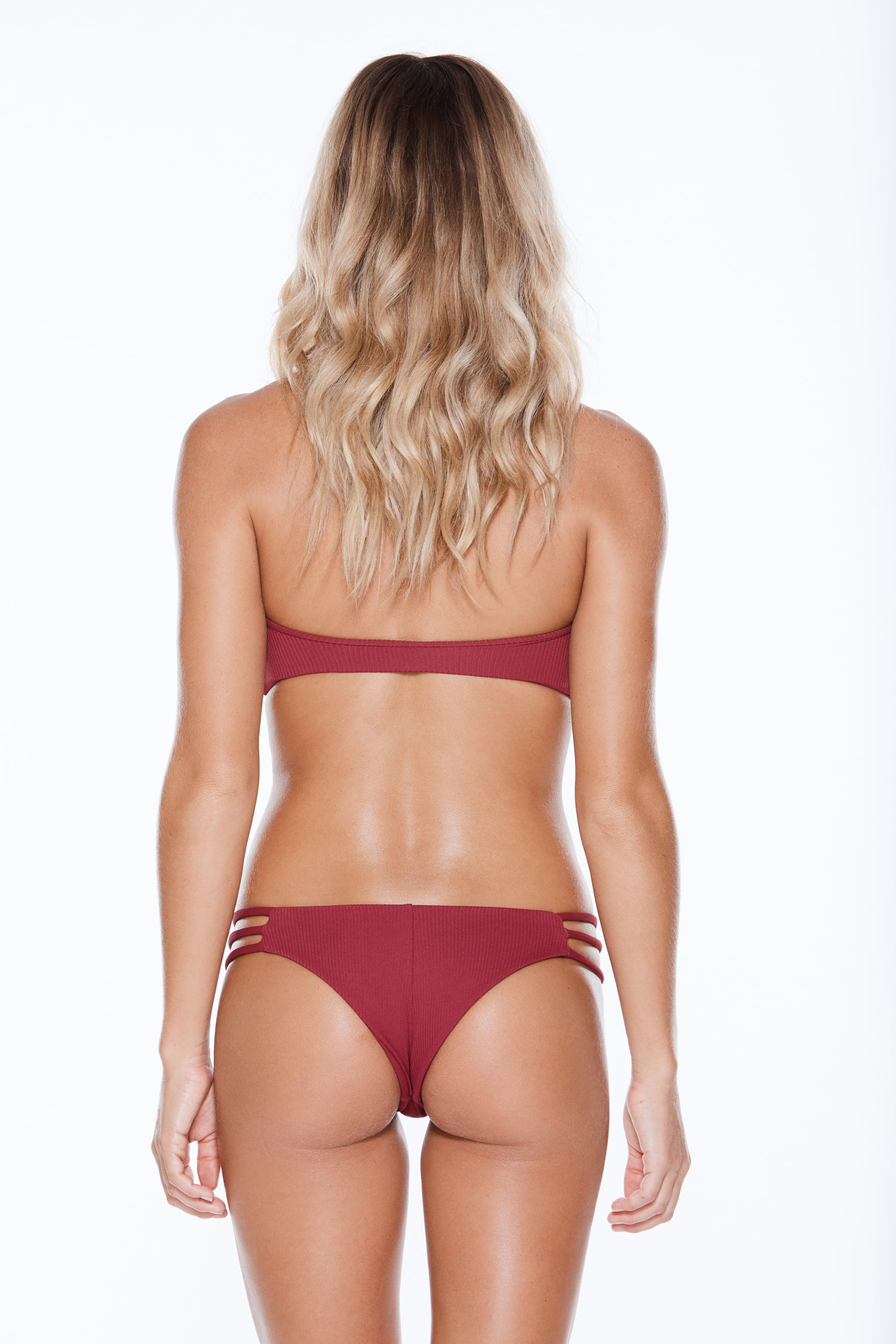 Low Tide Bottom - Burgundy Rib