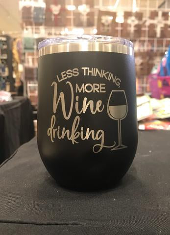 Less Thinking, More Wine Drinking Stemless Wineglass - Polar Camel