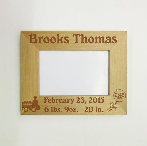 Birth Announcement Picture Frame with Train