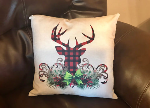 Plaid Deer Decorative Pillow