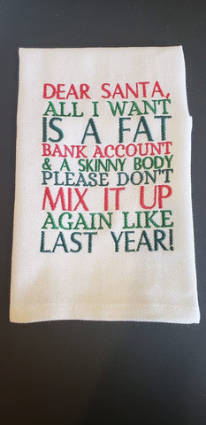 Dear Santa Kitchen Towels, Embroidered