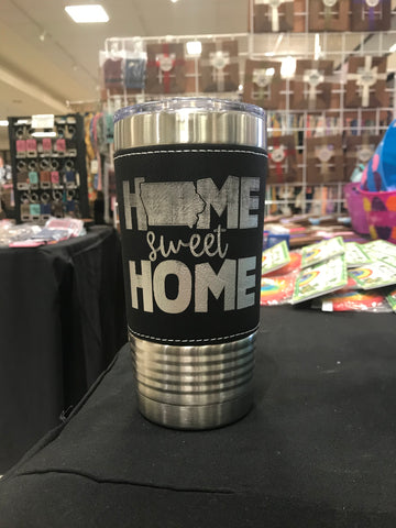 Home Sweet Home Iowa 20 oz Leatherette Polar Camel Tumbler