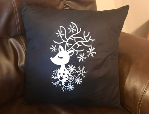 Snow Reindeer Decorative Pillow