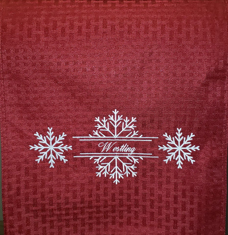 Personalized Red Winter Table Runner, Embroidered