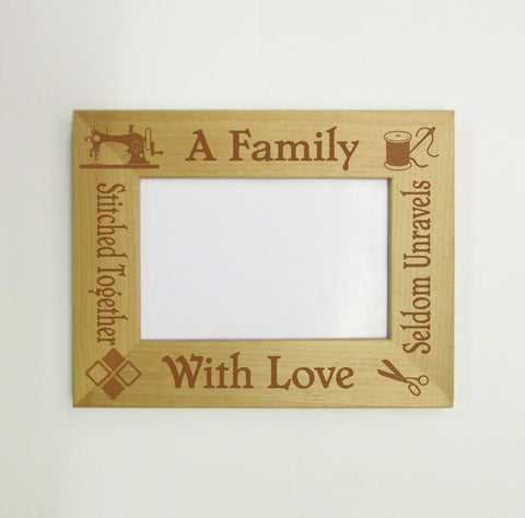 A Family Stitched Together Picture Frame