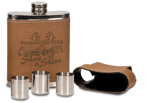 Flask, Faux Leather with Lid & 3 Shot Glasses