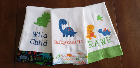 Embroidered Burp Cloth Set - Dinosaurs