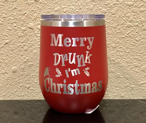Merry Drunk, I'm Christmas Stemless Wineglass - Polar Camel