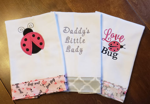 Embroidered Burp Cloth Set - Lady Bug