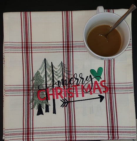 Merry Christmas Table Runner, Embroidered