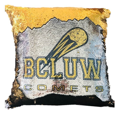 BCLUW Comets Sequin Pillow
