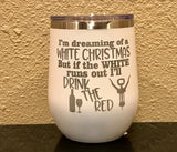 Dreaming of a White Christmas Stemless Wineglass - Polar Camel