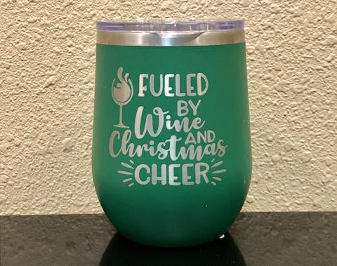Fueled By Wine and Christmas Cheer Stemless Wineglass - Polar Camel
