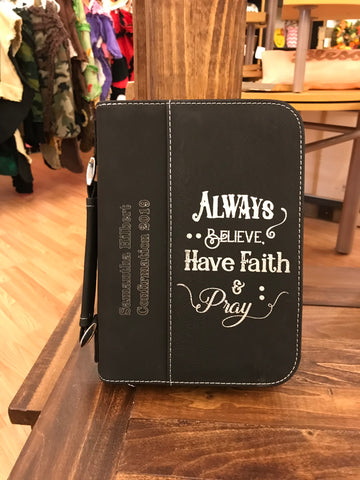 Always Believe Leatherette Engraved Bible/Book Cover with Zipper and Handle