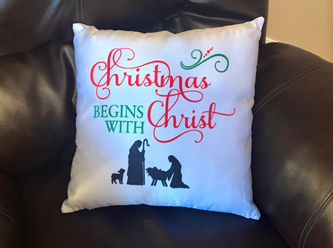 Christmas Begins With Christ Decorative Pillow