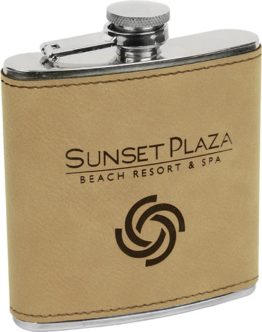 Flask, 6oz Leatherette, Engraved