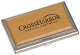 Business Card Holder, Silver/Wood Finish