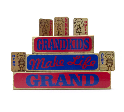 Grandkids Make Life Grand Family Block Set