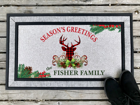 Season's Greetings Plaid Deer - Personalized Door Mat