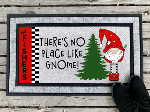 There's No Place Like Gnome - Personalized Door Mat