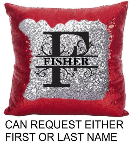 Monogram Sequin Pillow Cover