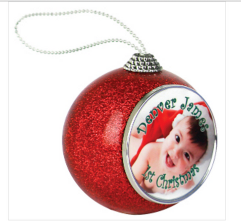 Photo Insert Red Glitter Ornament