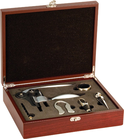 Rosewood Finish 5-Piece Wine Tool Gift Set