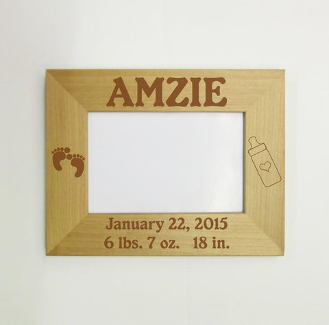 Birth Announcement Picture Frame with Footprints