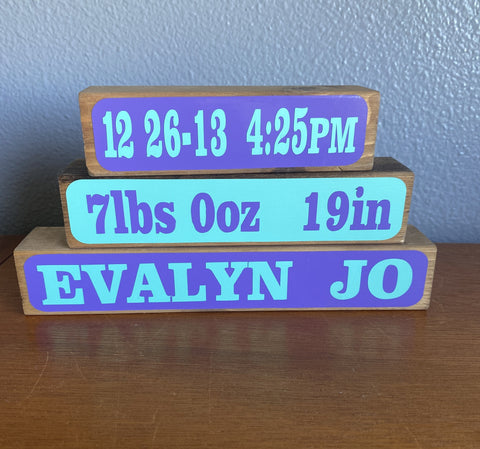 Birth Announcement Block Set