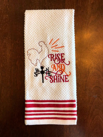Rise and Shine Kitchen Towel, Embroidered