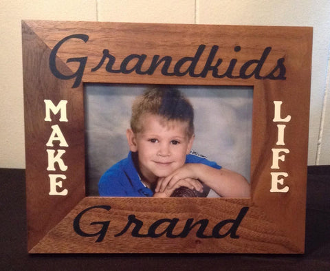 Grandkids Make Life Grand Picture Frame, Horizontal Vinyl