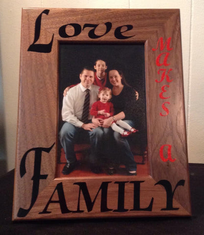 Love Makes a Family Picture Frame, Vertical Vinyl