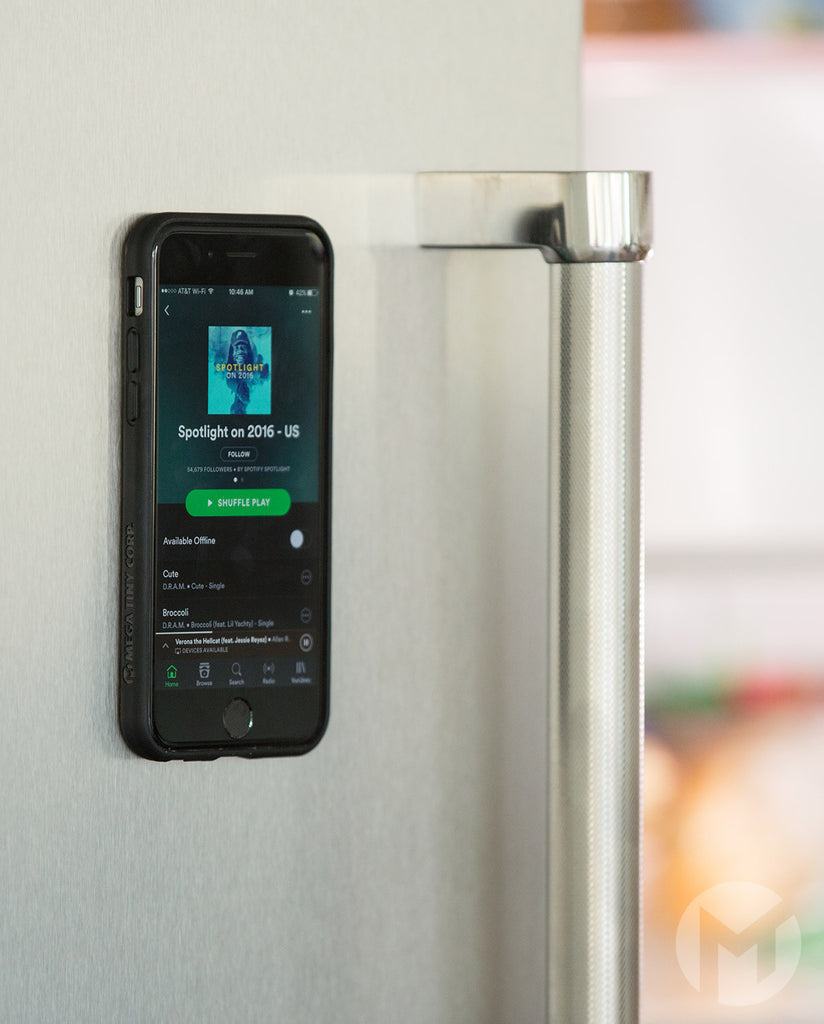Anti-Gravity Case for iPhone 5 Stuck to Fridge