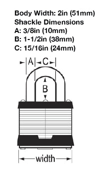 Master Padlock Dimensions for  No. 5LF