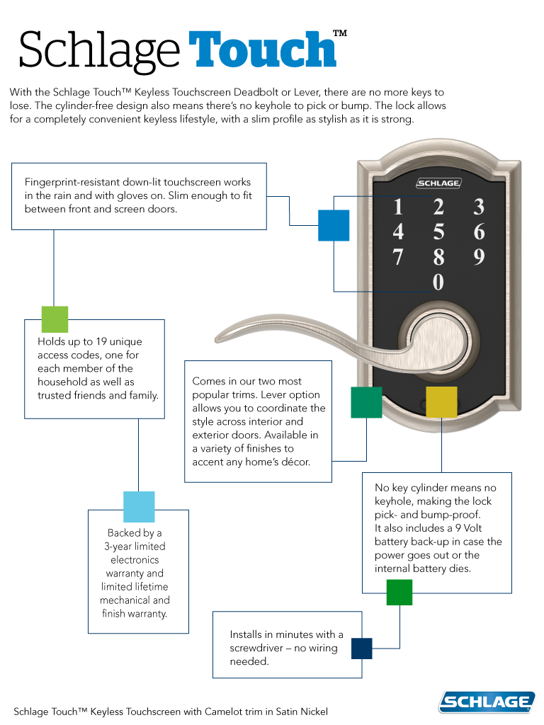 Schlage Fe695 Century Touch Keyless Leverset In Elan Style More Wiring Diagram Features Guide