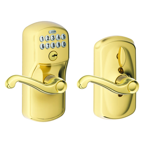 Schlage Fe595 Keypad Entry Flex-lock Plymouth Electronic Entrance Lock With Flair Lever
