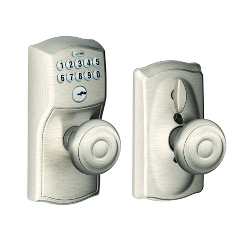 Schlage Fe595 Keypad Entry Flex-lock Camelot Electronic Entrance Lock With Georgian Knob