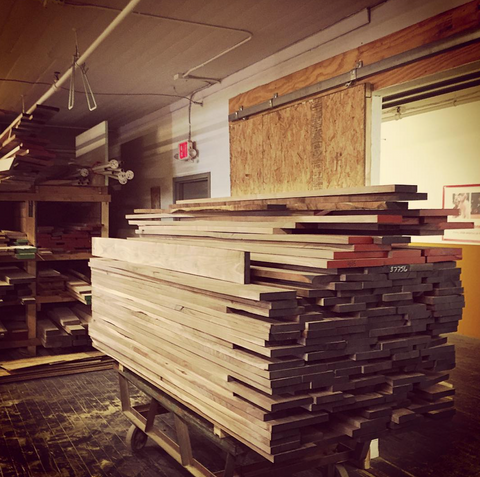 "A ""bunk"" of walnut lumber shortly after delivery."